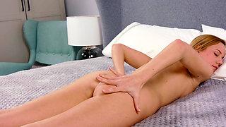 Petite blonde, real virgin shows her virginity.