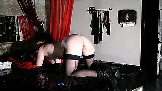 Submissive mature wife in stockings enjoys a nice spanking