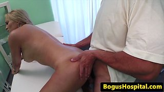 Creampied babe enjoys doctors examination