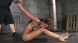 Breast bondage and brutal face fuck is what lewd brunette deserves