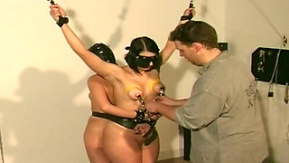 Horny perv has fun with two sexy tied whores