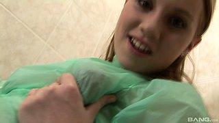 Dirty slut films herself while masturbating in the bathroom