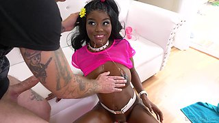 Ebony beauty Kandie Monae gets naked, used and brutally abused
