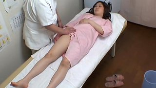 Chubby Japanese teen enjoys a voyeur erotic massage fun