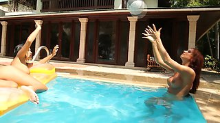 Angelica Kitten and her naughty GF swim naked in the pool