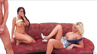 perfect body Britney Amber and her friend share one hard pecker