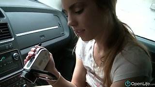 Insatiable Canadian slut masturbates in car and films the way she does it