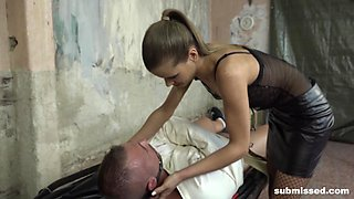 Skinny mistress in lingerie Sarah Kay blows her tied up man's dick