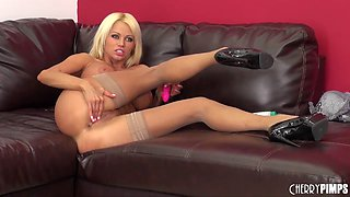 Bimbo in tan stockings fucked hardcore by a fat cock