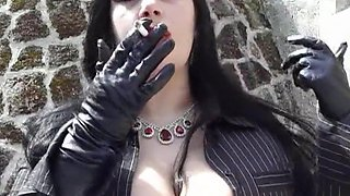 Smoking Lady Blowjob Handjob with leather Gloves - Fuck my Tits - Cum on my Face
