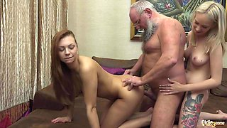 Blonde and Brunette Teens In Old Young Threesome Hard Sex