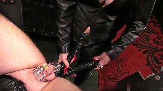 Leather strapon mistress
