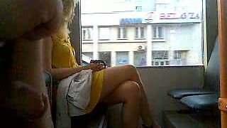 Stroking my cock next to gorgeous blondie in public bus