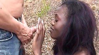 Slender african chick got punished for being a little slut