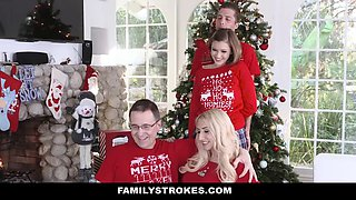 Stepsister can't stop groping her brother during Christmas photo session