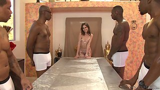 Horny brunette surrounded with black dongs just like she always wanted