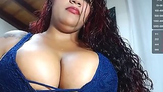 Cute Busty melatonin babe with sexy ass tits and ass spitting on tits (no milk)