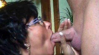 Sexy Older Waitress Serves A Customer