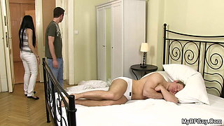 Wife caught brutal muscle hubby riding gay cock!