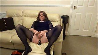 Alison attractive crossdresser - butt plug and cum
