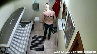 Pierced PUSSY Snooped in Tanning Bed