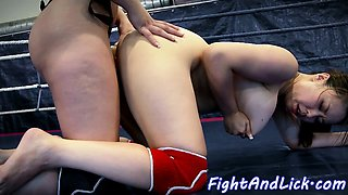 Busty wrestling asian babe strapon fucked