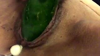 Wife loves vegetables, vaginal insertion
