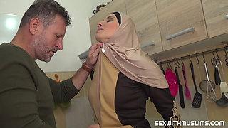 Muslim milf in sexy red lingerie