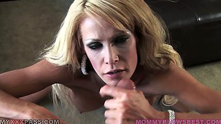 Mikky Lynn the slim blonde MILF sucks a dick passionately
