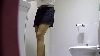 Sexy girl with sexy lace pants at the toilet showing all
