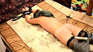 Restrained amateur girl in stockings gets her peach vibrated
