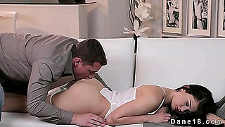 Awakened hot brunette ass licked and pussy fucked on couch