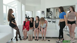 Lesbian beauty Reena involved six hotties in sapphic orgy