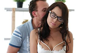 Nerdy brunette with glasses Henessy fucked in the kitchen