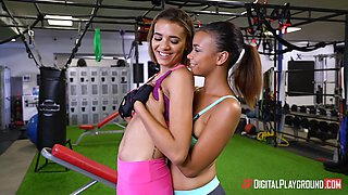 Sexy tribbing in the gym with Raven and Elle