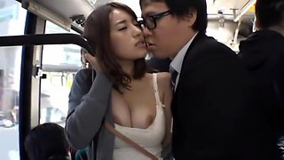 Japanese Hot Pose Huge Tits Fuck on Bus