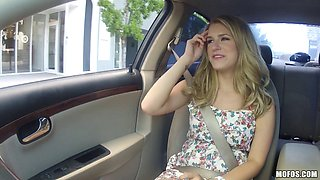 Slutty Dixie Belle blows in a car and gets her twat smashed