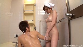 Good-looking bosomy Japanese maid fucked in her hairy pussy