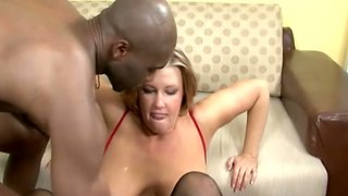 Horny lusty housewife cannot miss a chance to suck delicious black cock