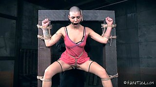 Heavily restrained bald chick Abigail Dupree loves hard BDSM