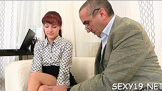 Babe is getting her pussy ravished by teacher on the daybed