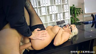 buxom boss christina shine takes monster cock on the table
