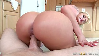 Tattooed big assed blond MILF had stout fuck with kinky dude at kitchen