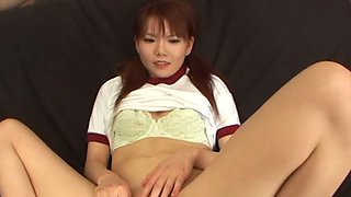 Slender Japanese amateur Himena Ebihara gets her fresh vagina tickled with sex toys