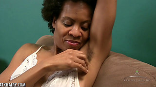 Hairy Natural Black Goddess Ariela shows her body