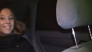 Sexy redhead fucked in a car