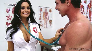 Dreamy nurse is serving handsome guy