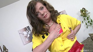 Horny mature Renata in stockings enjoys getting fucked by her lover