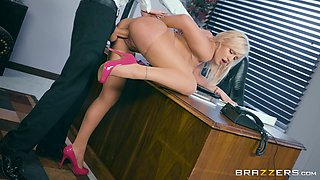 Naughty secretary Kylie Page offers her body to a hot man