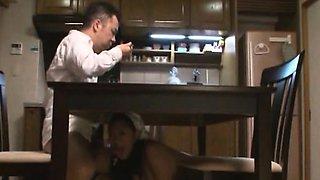 Subtitled nudist Japanese maid dinner time blowjobs